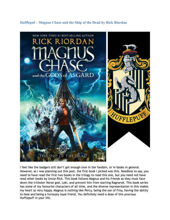 Hogwarts House Book Recommendations (Guest Post by Nandini) 3